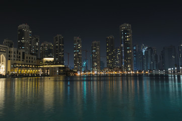 Dubai Cityscape at night. United Arab Emirates