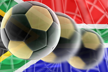 Flag of South Africa wavy soccer