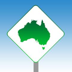 Australia map road sign
