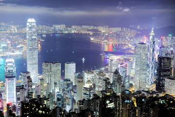 Fototapete - Hong Kong skyline at night