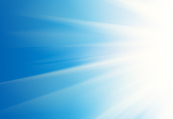 White rays shining over blue background