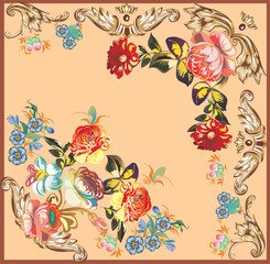 decoration with roses on brown