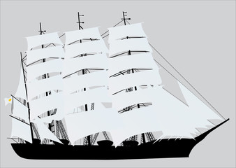 ship with light canvas