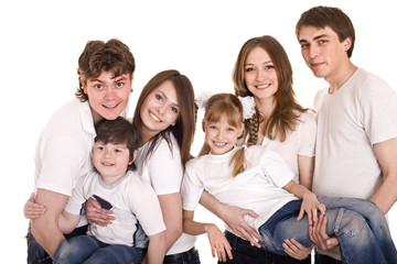 Happy family with children. Group people.