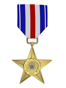 3d render Silver star medal