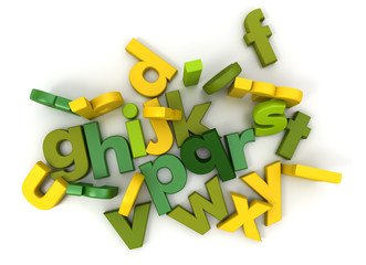 Alphabet in green and yellow