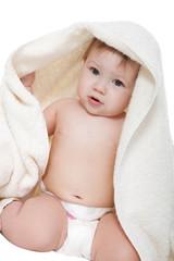 Little boy in a blanket