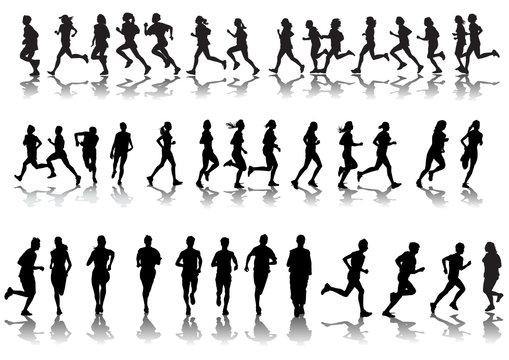 Silhouettes running