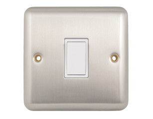 single wall mounted light switch isolated on white background