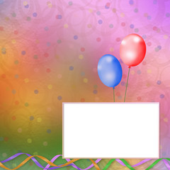 bright multicolored background  with balloons, streamers and con