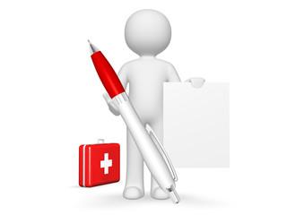 Arzt mit Kugelschreiber und Zettel