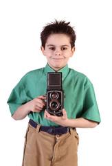 bambino con macchina fotografica