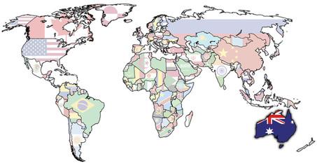 australia on map of world
