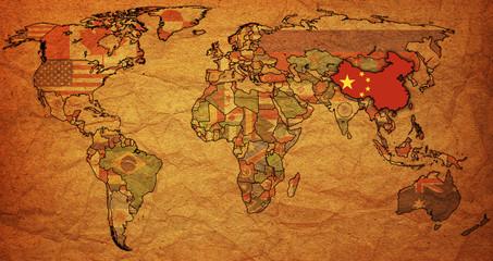china on map of world