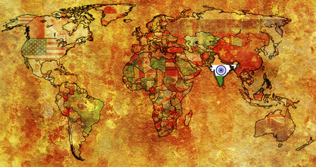 india on map of world