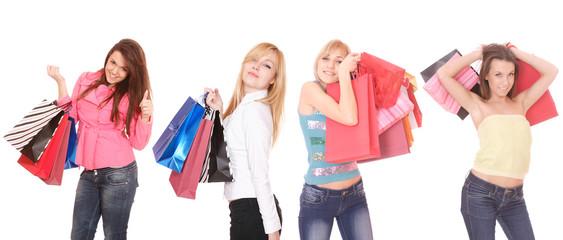Group of shopping girls
