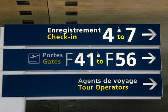 signalisation dans l'aéroport