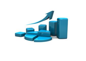 business finance chart, graph, diagram 3d
