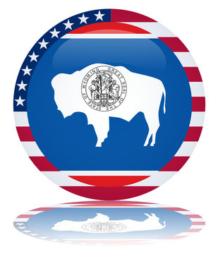 Wyoming State Round Flag Button (USA America Vector Web)