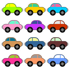 Funny cars with different colors over white background