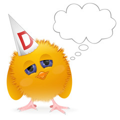 Chick wearing dunce cap