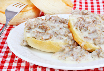 Biscuits, sausage and gravy