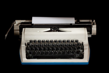 Manual typwriter with black isolated background