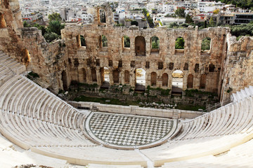 The Odeon of Herodes Atticus is a stone theatre,Acropolis, Athen