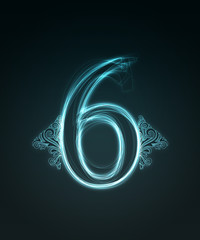 Glowing font. Shiny number 6