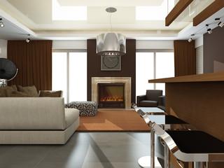 interior of modern living-room. 3D render
