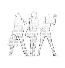 Three female silhouettes