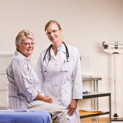 Senior woman having checkup in doctor office