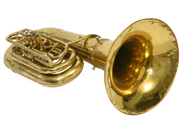 Wind musical instrument tuba on a white background