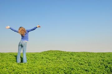 girl in the spring field