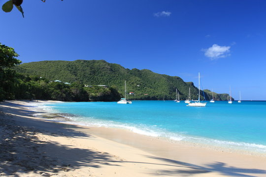 Tropical beach on Bequia Island, St. Vincent in the Caribbean