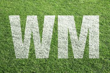 WM - Kreideschrift auf Fußballplatz