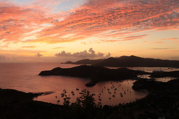 Sunset over famous English harbour, Antgiua in the Caribbean