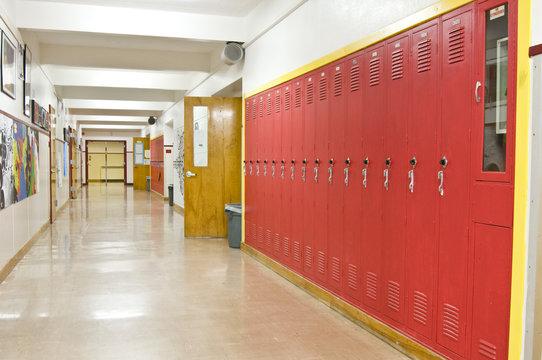 Empty School Hallway