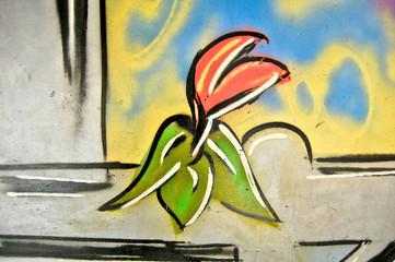 Graffiti : Tulipe rose