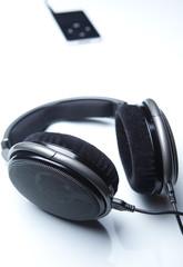 hi-end stereo headphones on white background