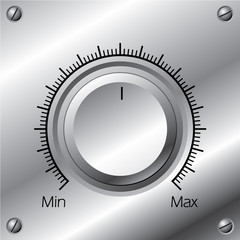 Volume knob with calibration on steel plate