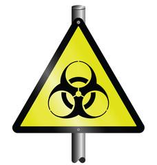 Bio hazard warning sign mounted on post