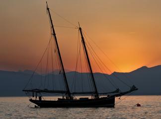 splendid sailboat at sunset