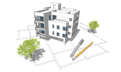 Apartment building colored sketch