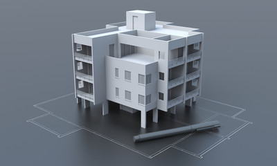 Apartment building on gray background