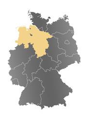 Deutschlandkarte Niedersachsen