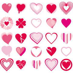 Set of hearts icons symbols vector illustration