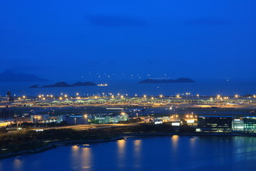 Hong Kong international airport at twilight