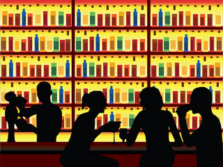 People in bar vector
