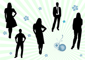 Illustration of some business men and women